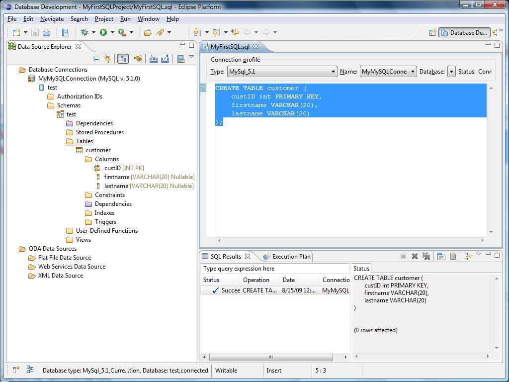 Database Development Using the Eclipse IDE, MySQL with